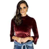 Blusa Veludo Colcci Feminino - Feminino-Bordô