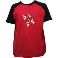Camiseta Alkary Raglan Manga Curta Canivete Suiço Vermelha E Preta