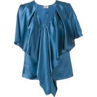 Lanvin Blusa Com Babados - Azul