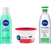 Kit Nivea Limpeza Facial Tônico + Água Micelar + Creme Antissinais - Unissex-Incolor