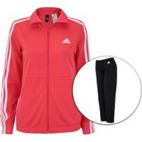 Agasalho Adidas Back 2 Basics 3S - Feminino - Vermelho/Preto