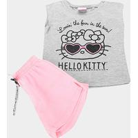 Conjunto Infantil Hello Kitty Blusa Meia Malha E Short Moletom Feminino - Feminino