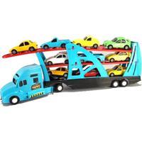 Veículo - Caminhão Cegonheira Com Carrinhos - Frota Forte - Azul - Fun
