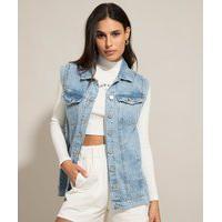Colete Alongado Jeans Azul Claro