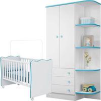 Berço E Guarda Roupa Infantil Doce Sonho Branca/Azul - Qmovi