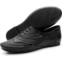 Sapato Oxford Casual Conforto Verniz Q&A 15360 Preto