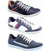 ac6de470b44 ... Kit 3 Pares Sapatênis Numeração Especial Dexshoes Masculino - Masculino -Azul+Branco
