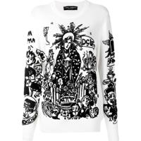 Dolce & Gabbana Pullover De Tricô Bordado - Branco