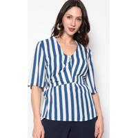 Blusa Listrada Com Amarração- Azul & Branca- Nectarinectarina