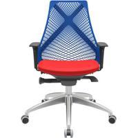Cadeira Office Bix Tela Azul Assento Aero Vermelho Autocompensador Base Alumínio 95Cm - 63975 - Sun House