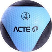 Medicine Ball Com 4 Kilos - Preto & Azul - Ø23Cmacte