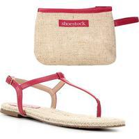 Kit Shoestock Rasteira Palmilha Corda+Necessaire Juta - Feminino-Rosa