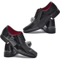 Kit 2 Sapato Social Garra Verniz Confort Masculino - Masculino-Preto