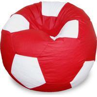 Puff Bola Super Em Corino Vermelho & Branco