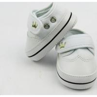 Tênis Bebê Masculino Branco Bordado Coroa Com Velcro -G - Masculino-Branco