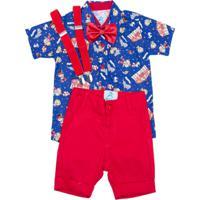 Roupa De Festa Blue Kids Camisa Social Circo Com Gravata E Suspensório