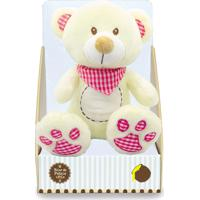 Urso De Pelúcia Com Babador Xadrez 25Cm - Rosa - Unik Toys