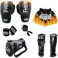 Kit Boxe Muay Thai Top Fheras - Luva Bandagem Bucal Caneleira Shorts Bolsa - 14 Oz Fog