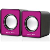 Caixa De Som Multilaser 2.0 Mini 3W Rms Rosa - Sp198