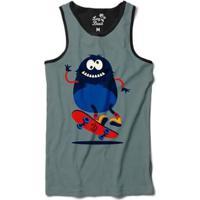Camiseta Regata Long Beach Pulga Hard Flip Sublimada Masculina - Masculino-Cinza