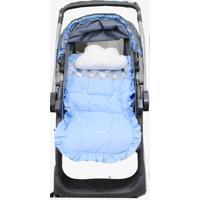 Capa De Carrinho De Bebê Losango Azul Com Almofada - 2 Peças