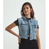 Colete Curto Jeans Com Bolsos E Franjas | Blue Steel | Azul | Gg