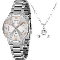 Relógio Lince Feminino Prateado Aço C/ Semijóias (Corrente, Pingente E Par De Brincos) - Lrmh144L-Kz03S1Sx