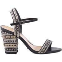 Sandália Rive Gauche Block Heel Natural Black | Schutz