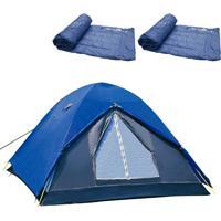 Barraca De Camping Iglu Fox Até 4 Pessoas Nautika 2 Colchonetes Camp Mat Azul