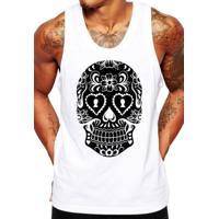 Camiseta Regata Criativa Urbana Caveira Mexicana Cartas - Masculino-Branco