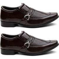Kit 2 Pares Sapato Social Hshoes Verniz Conforto Macio Masculino - Masculino-Marrom