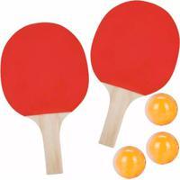 Kit Thata Esportes Ping Pong Raquetes Bolinhas Rede Suporte