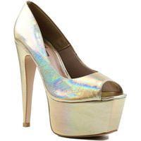 Sapato Feminino Zariff Peep Toe Zariff Dourado