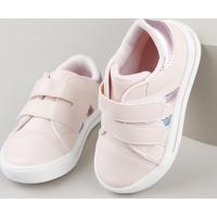 Tênis Infantil Baby Club Com Velcro Rosa Claro