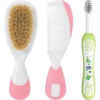 Kit De Higiene Com Escova De Dentes Infantil + Escova E Pente Com Cerdas Naturais - Chicco