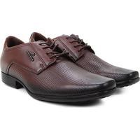 Sapato Social Couro Pegada Amarração Bico Fino Masculino - Masculino-Marrom