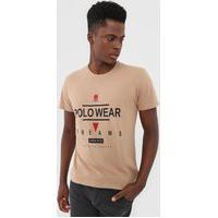 Camiseta Polo Wear Lettering Bege