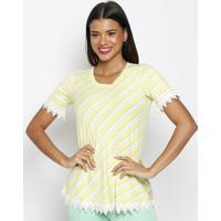 Blusa Listrada Com Renda- Verde Limão & Off White- Mmaclu