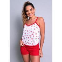 Pijama Mvb Modas Blusinha Alça E Short Curto Feminino - Feminino-Vermelho