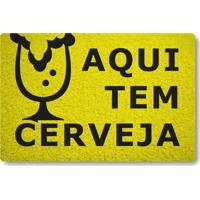 Tapete Capacho Aqui Tem Cerveja - Amarelo