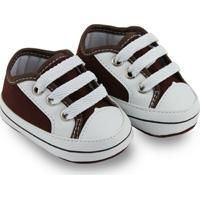 Sapato Para Bebê Soffete Com Cadarço - Masculino-Marrom