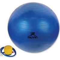 Bola Pilates Fitball Com Bomba Muvin - 65Cm - Azul - Unissex