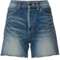 Saint Laurent Shorts Jeans Com Lavagem Clara - Azul