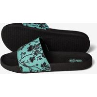 Chinelo Slide Floral Turquesa 600055