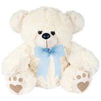 Urso Baby Branco Com Laço Azul Claro W.U