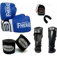 Kit Infantil Fheras Luva De Boxe / Muay Thai Orion 08 Oz + Bandagem + Bucal + Caneleira Anatômica - Unissex