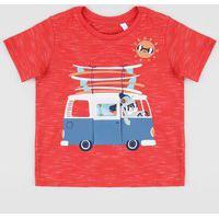 Camiseta Infantil Carro Manga Curta Gola Careca Vermelha