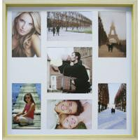 Quadro Para Fotos Wood Natural E Amarelo 40X40Cm