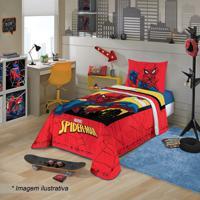 Edredom Em Matelass㪠Spider Man⮠Solteiro- Azul & Vermellepper