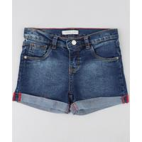 Short Jeans Infantil Com Barra Dobrada Azul Escuro